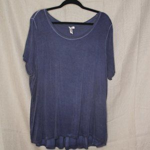 Ruffled Back Blue Relaxed Tee